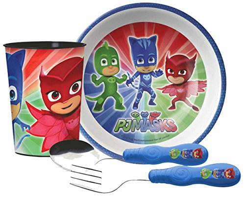 Zak! Designs Kids Mealtime Set Includes Bowl, Tumbler Cup, Fork & Spoon Featuring PJ Masks Graphics! BPA-free, 4 Pc Set.