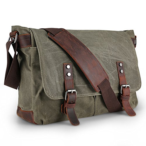 Waterproof Messenger Bag Mens, AIZBO Man Bags Cross Body Canvas Shoulder Bag Satchel Bag Laptop Bag for 15 Inches, Large Size (Army Green)