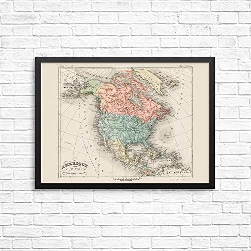 Vintage North America Countries Wall Decor Poster Art Print - Cartographic Map of United States of America, Canada and Mexico -11