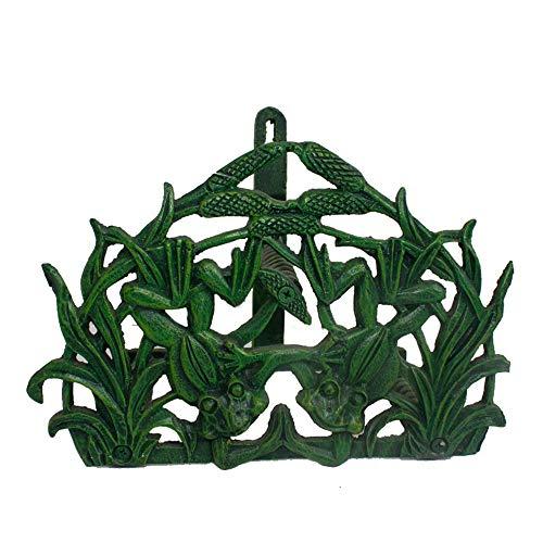 Subobo Tuinslanghouder, muurbevestiging, decoratieve draad, tuinstoel, buisslang, retro Europese dubbele kikkerslanghouder, groen, praktische tuinieraccessoires