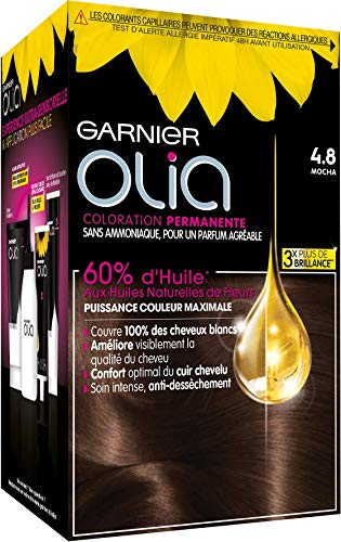 Garnier Coloration Permanente, Sans Ammoniaque, Aux Huiles Naturelles de Fleurs, Mocha (4.8), Olia