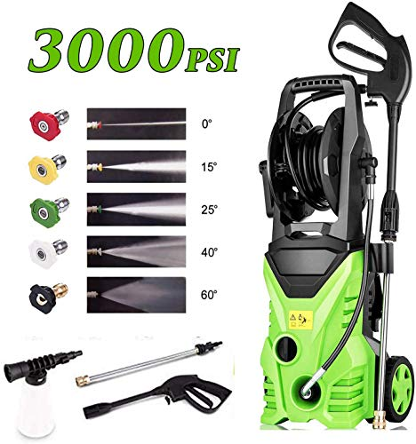 Homdox 3000 PSI Electric Pressure Washer, High Pressure Washer, Professional Washer Cleaner Machine with 5 Interchangeable Nozzles, 1800W,1.80 GPM,Hose with Reel