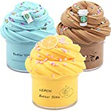 Partyforu 3 Pack Premium Butter Slime Kit, with Yellow Color Lemon Slime and 2 Pack Coffee Slime, Super Soft ,Stretchy and Non Sticky DIY Sludge Toy Coud Slime for Girl and Boys