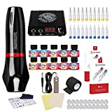 Dragonhawk Rotary Tattoo Machine Atom M5 Pen 20pcs Cartridges Needles Power Supply Set Color Inks TZ510 (Black)
