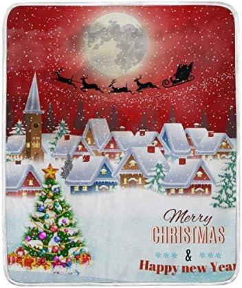Mesllings Couverture de Noël en Microfibre, légère, Chaude et Confortable, idéale pour Les Voyages, Le Camping, Toutes Saisons pour canapé ou lit