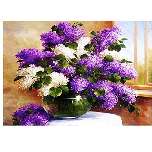 QAZEDC Digital schilderij handgemaakte speelgoed puzzel Frame Flower Paint Numbers Voor volwassenen DIY Acryl Verf Kleurplaten Nummers Op Canvas Lavender Home
