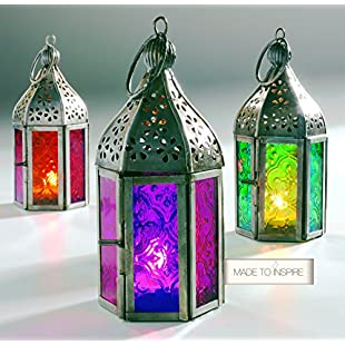 Set of 3 Moroccan Tonal Glass Tea Light Lanterns