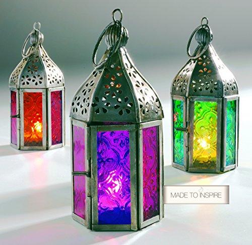 Laternen für Teelichter, 3 Stück, im marokkanischen Stil, mit farbigen Gläsern