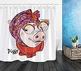 WANGXIAO Lustiges Schwein mit einem Schal Duschvorhang Wasserdichter Stoff Toilettendekoration 12 Haken