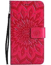 Funda Galaxy Note 3, Dfly Premium PU Cuero Patrón Datura Flor Diseño Cierre Magnético Slim Flip Billetera para Samsung Galaxy Note 3, Rojo