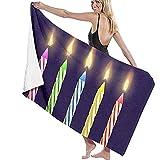 Asciugamano da Spiaggia in Microfibra Bruciato Festa di Compleanno e Candele di Natale Asciugamano da Bagno per Viaggi Nuoto Piscina Yoga Campeggio Palestra Sport 80X130