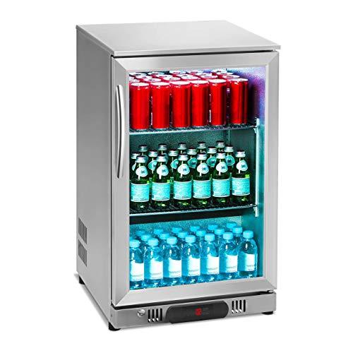 Royal Catering RCGK-108S Nevera Expositora Frigorifico Minibar Nevera Pequeña Bebidas Botellas Refrigerador (108 L, 2–10 °C, 135 W, 53x50,2x83,5 cm) Inox