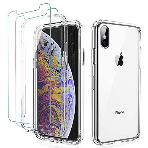 KEEPXYZ - Custodia per iPhone X XS + 2 pellicole proteggi schermo per iPhone X XS in vetro temperato, antiurto, in silicone trasparente e poliuretano termoplastico posteriore + vetro temperato per Apple iPhone X/XS
