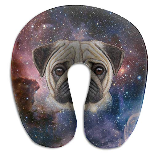 Pug Face Galaxy Memory Foam Travel Almohada para el Cuello Almohada Cervical portátil U Almohada para Acampar