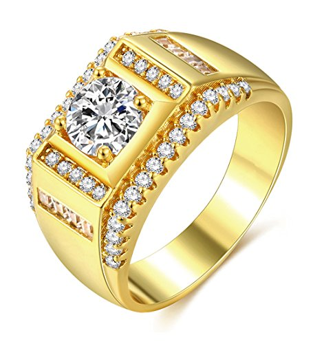 Mens Gold Rings Cubic Zirconia Men's Jewelry Signet with 18ct Gold Plated Wedding Band Ring for Him Husband