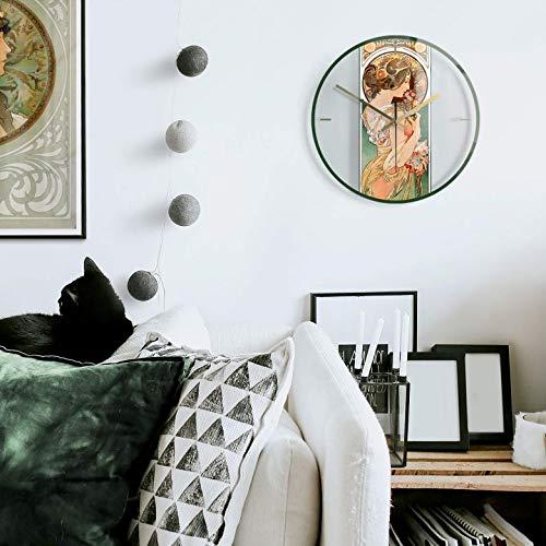 lautlose 30cm Große Wanduhr Wohnzimmer Wandbild Art Deco Glasbild Jugendstil Uhr aus Glas Wanddeko mit Quarz Uhrwerk