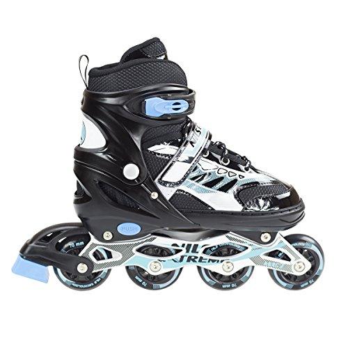 Inlineskates Inline-Skates Inliner Rollschuhe verstellbar Sport S M L NJ1828 (Schwarz, L)