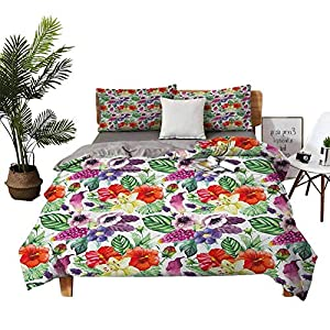 DRAGON VINES Four-Piece Bedding Silk Sheets a King Size Sheet Set Tropical Flower Pattern Various Tropical Plants Calla Chinese Hibiscus Anemone Multicolor Solid Color Quilt Cover W68 xL90