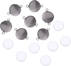 48 PCS Pendant Tray Kit Seasonsky Double Hole Bracelet Blanks Pendant Trays with 24 PCS Glass Cabochon Round Connector Charms Bracelet Cameo Bezel Settings Photo Jewelry for Crafting DIY