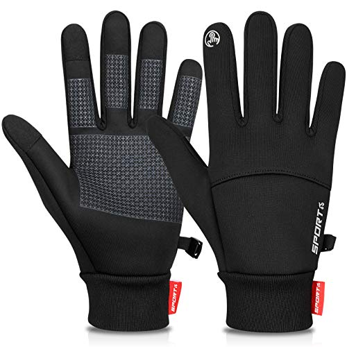 Cevapro Cycling Gloves for Men, Running Gloves Unisex Thermal Gloves Touch Screen Winter Gloves for Work Bike Hiking Driving(Black, M)