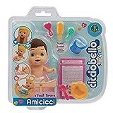 Cicciobello Amicicci, Bébé avec Set Repas et Accessoires, Modèle Cheveux Noirs, Jouet pour Enfants dès 3 Ans, CC0012, CC001200