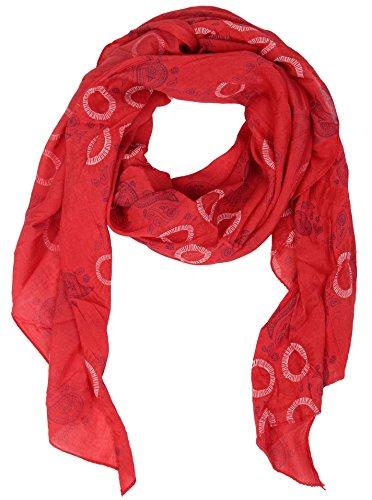 Zwillingsherz Seiden-Tuch für Damen Mädchen Paisley Elegantes Accessoire/Baumwolle/Seiden-Schal/Halstuch/Schulter-Tuch oder Umschlagstuch einsetzbar - rot