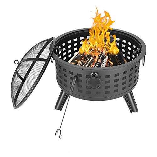 KYMYCraft Outdoor Iron Fire Pit Wood Burning with Mesh Spark Screen Cover & Fire Poker for BBQ Grill Camping Picnic Bonfire Patio Backyard Garden Beaches Park (26',Round Lattice)