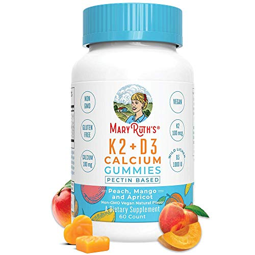 Vegan Vitamin K2D3 Calcium Gummies Plant Based by MaryRuth's Organic Ingredients, Non-GMO, Gluten Free Men, Women Kids 60 Ct