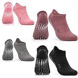 Occulto Calcetines Antideslizantes para Mujer y Hombre (2-4 Pares), Calcetines para Yoga y Pilates Mujer Hombre 4 Pares | Negro-Gris-Rosa-Rojo 39-42