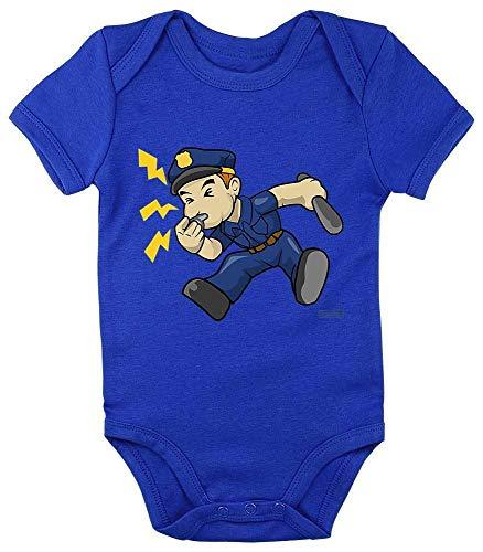 Hariz - Body para bebé, manga corta, policía, silbato de trill, copa de policía, incluye tarjeta de regalo Royal Königs azul 0 – 3 meses