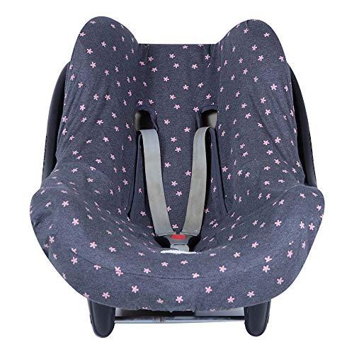 BAOBABS BCN - Funda de Algodón para Silla de Coche de Bebé   Grupo 0 - Universal   Protección transpirable y cómoda   Color Carbon Pink Old Stars