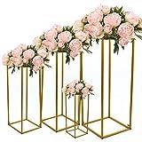 Futchoy Supporto rimovibile per fiori, supporto per fiori, per matrimonio, colonna in vasi geometrici per decorazioni di nozze, feste, oro (set da 4 pezzi (40 cm, 60 cm, 80 cm, 100 cm)