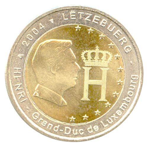 2 € Lussemburgo 2004 Profilo e monogramma del Granduca Henri