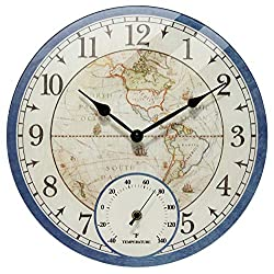 Orbis 14 inch Map Small Battery Operated Decorative Wall Clock Easy to Read with Thermometer, Tempered Glass Open Face