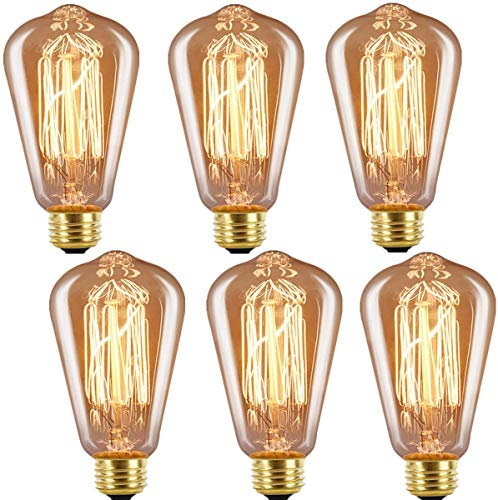 INNOCCY Edison Bulb Medium (E26) Standard Base Dimmable ST64 60W Vintage Light Bulb 2300K Warm Glow,Pack of 6