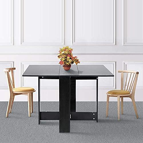 JEOBEST Table à Manger Pliante, Table Basse Pliable Réglable et Extensible Table de Salle à Manger, pour Salon Cuisine Jardin Terrasse (Noir)