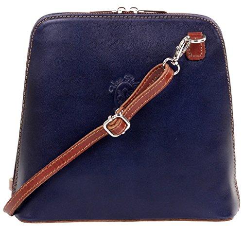 Primo Sacchi Damen Italienische Handtasche aus kleinem Kreuz oder Umhängetasche aus glattem Leder Marineblau and Braun