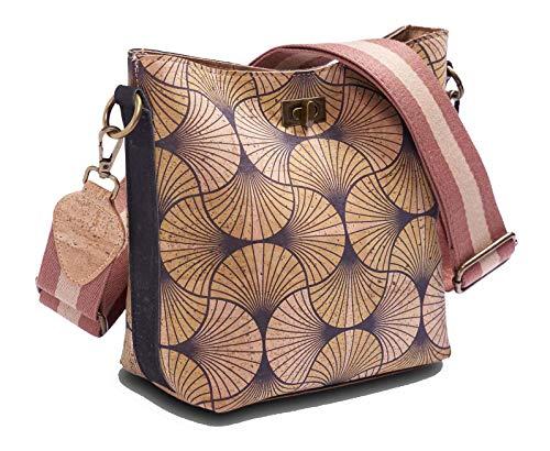 Tepcor Umhängetasche Damen Schultertaschen Handtasche Natur Kork-Stoff Vegan verstellbar (Yellow)