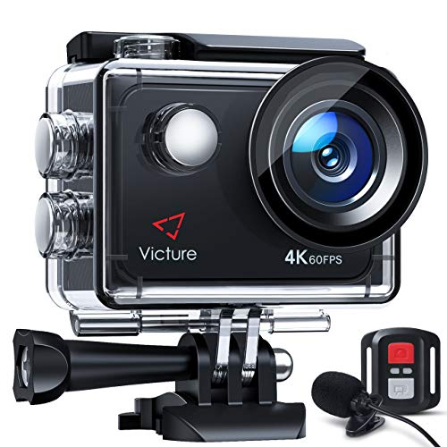 Victure 4K 60FPS Touch Screen Action Camera with 8X Zoom, Dual Microphone, Remote Control, Upgraded EIS, 40M Underwater Camera, PC Webcam with 2x1350mAh Batteries and Accessories Kit Included