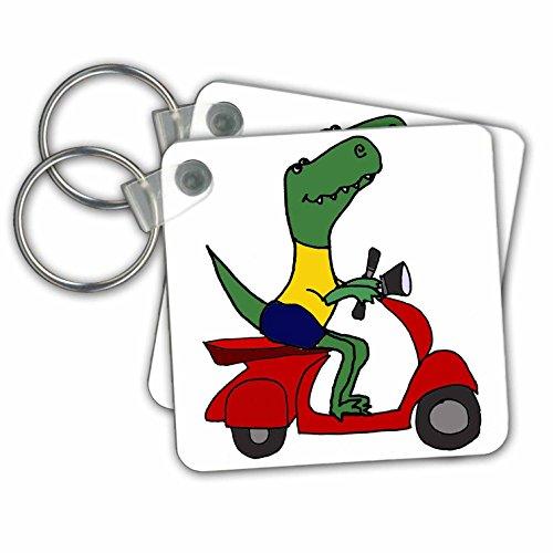 3dRose Funny Cool T-Rex Dinosaur Riding Rode Motor Scooter Cartoon - Sleutelhangers, 2.25-inch, Set van 2 Sleutelhangers, 6 cm, Varies