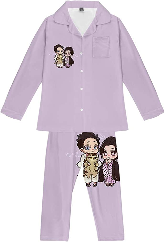 AMOMA Anime Kimetsu no Yaiba Printed 2 Pieces Pajama Sets Unisex V-neck Long Sleeve Sleepwear