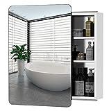 kleankin 18'' x 26''/46cm x 66cm Wall Mount Bathroom Medicine Cabinet Mirror Sliding Door with 3-Tier Storage Shelf, Stainless Steel, for Living Room Bedroom Office