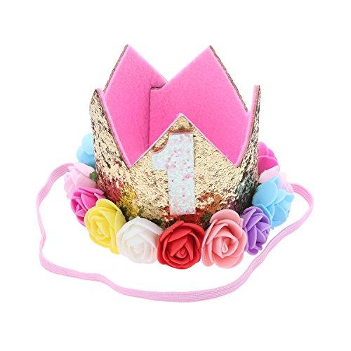 Frcolor Bébé Premier Anniversaire Couronne Rose Doré Bandeau Diadème Princesse Fleurs Colorées...