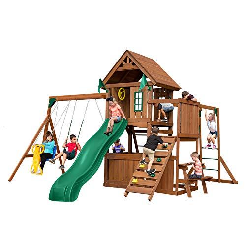 Swing-N-Slide WS 8352 Knightsbridge Ultimate Swing Set with Slide, Monkey Bars, Climbing Wall, Wood Roof, Picnic Table & Glider, Wood, Green
