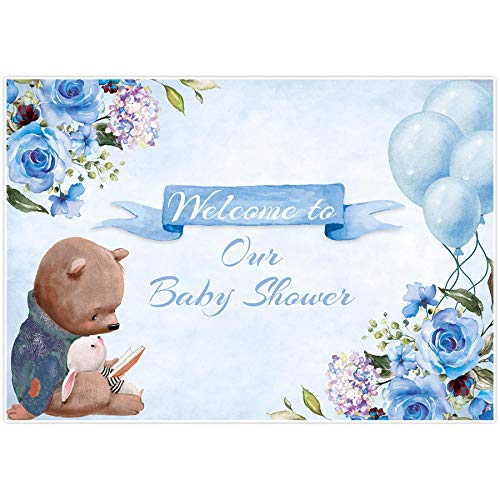 Allenjoy 7x5ft Welcome to Our Baby Shower Backdrop Supplies for Newborn Kids Birthday Party Decorations Blue Floral Cartoon Bear Cake Smash Props Studio Pictures Photoshoot Favors Banners Background