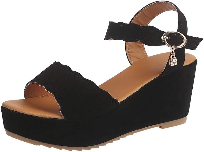 Women's Open Toe Rhinestone Platform High Heels shoes Buckle Slope Sandals Wedge High Heels Sandals