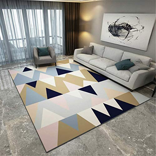 xuyuandass Carpet Moderncreative European Color Geometry 3D Printing Living Room Bedroom Warm Rug 80X150Cm Yoga Mat Household Carpet