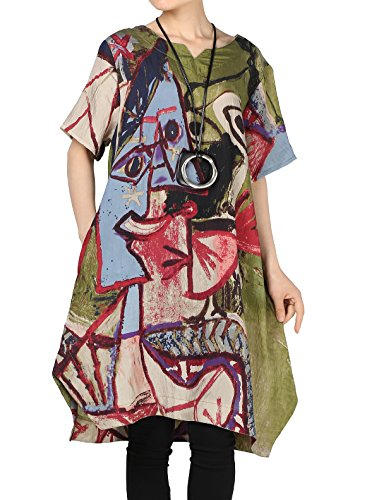 Mordenmiss Women's Summer Abstract Printing Baggy Dress with Pockets M Green