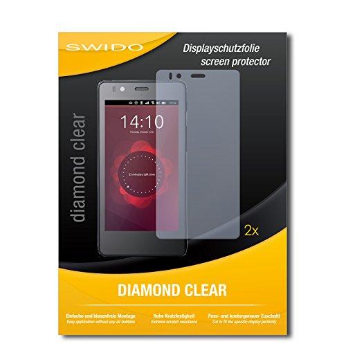 SWIDO 2 x Bildschirmschutzfolie BQ Readers Aquaris E4.5 Ubuntu Edition Schutzfolie Folie DiamondClear unsichtbar