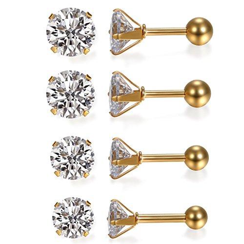 JewelryWe Schmuck 4 Paare Damen Ohrringe, Elegant Runde Zirkonia Edelstahl Ohrstecker Tragus Helix Ohr Piercing, Gold - Breite 3mm ~ 6mm